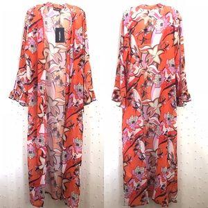 ASOS PrettyLittleThing Printed Maxi Kimono Sz 12